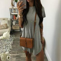 Edie Tee Dress - H. Grey