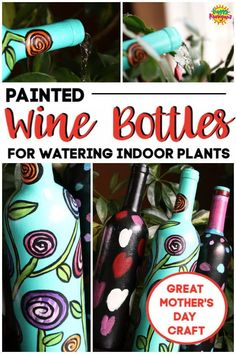 Turn a wine bottle into an indoor watering can with acrylic craft paint. The long neck reaches right into the plant, so no spills or drips! Plus, it doubles as a decorative piece of art in between waterings! Great craft for kids and adults alike. Super homemade gift for kids to make for Mother's Day, Christmas and birthdays! #HappyHooligans #KidCrafts #CraftIdeas #EasyCrafts #CraftsForKids #TweenCrafts #WineBottles #WateringCan #ArtForKids #KidsArt #MothersDay #Homemade #GiftIdeas #Gardening Toddler Art Projects, Easy Art Projects, Projects For Kids, Green Glass Bottles, Painted Wine Bottles, Glass Jars, Mothers Day Crafts For Kids, Gifts For Kids, Poppy Craft