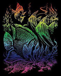 Kratzbild Kratzbilder tropische Fische Regenbogenfolie Größe 20 cm x 25 cm in Spielzeug, Basteln & Kreativität, Malen & Zeichnen | eBay
