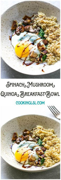 Spinach Mushroom Quinoa Breakfast Bowl Recipe Cooking Lsl - Spinach Mushroom Quinoa Breakfast Bowl Recipe A Breakfast Bowl Loaded With Nutritious And Wholesome Ingredients Hey Guys Happy Wednesday I Have A Quick And Easy Breakfast Idea For You This Quino Vegan Brunch Recipes, Healthy Recipes, Healthy Breakfast Recipes, Cooking Recipes, Flour Recipes, Healthy Fats, Lunch Recipes, Healthy Eating, Quinoa Breakfast Bowl