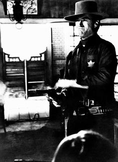 Clint Eastwood in a production still for his first American western Hang 'Em…