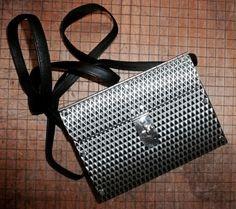 0537b70fefbe Wendy Stevens Stainless Steel Small Shoulder Handbag Purse Black Leather  Strap  WendyStevensWS22  ShoulderBag