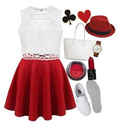 """Red 'n' White"" by amazin-maze on Polyvore featuring Ally Fashion, Vans, NYX, Triwa, Alison Lou, Stetson, white, red, teen and dress"
