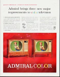 """Description: 1964 ADMIRAL TV vintage magazine advertisement """"three new major improvements"""" -- Quality proved by 11 years of color experience! Admiral brings three new major improvements to color television. * The Chanceford Model L1629 * The Courtney Model L1311 * -- Size: The dimensions of the full-page advertisement are approximately 10.5 inches x 13.5 inches (26.75 cm x 34.25 cm). Condition: This original vintage full-page advertisement is in Excellent Condition unless otherwise noted."""