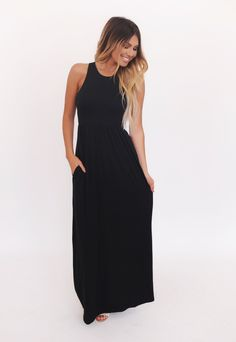 Solid Racer Back Tank Maxi Dress- Black - Dottie Couture Boutique