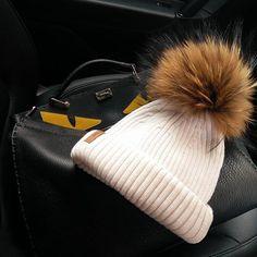Travel essentials, Fendi Peek-A-Boo Designer Bobble Hat and Ivory Fur Pom Pom Hat