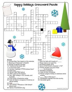 Free Printable Christmas Holiday Crossword Puzzle | Student ...