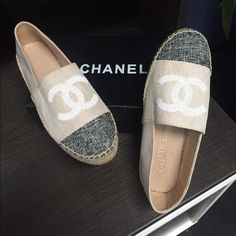 "Chanel 2016 Cruise Collection Espadrilles 2016 Cruise Collection Espadrilles These Beauties just came in yesterday. ""They are Made to Resemble"" Chanel 2016 Cruise Collection Double Jute Sole Espadrilles. They are Linen & LINED IN SHEEPSKIN featuring white sequined Double C's and dark linen toe cap. These fit size 9.5 PERFECTLY. They come with the box. These are NEW NEVER WORN. Retail and Special order Available in all the collection colors. These are Handmade in Italy. CHANEL Shoes…"