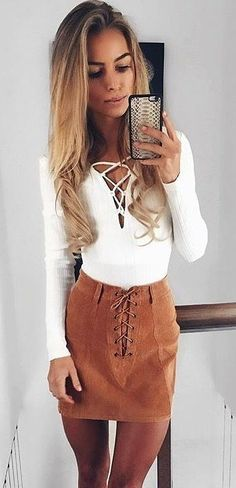 #cute #outfits White Bow Sweater // Camel Bow Skirt