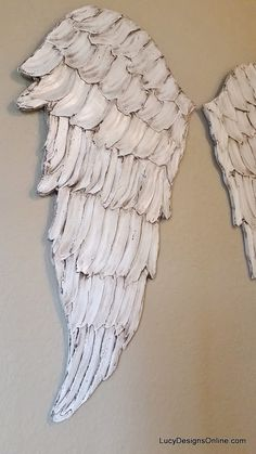 Wood Angel Wings Wall Art, Carved Wood Look, International Shipping