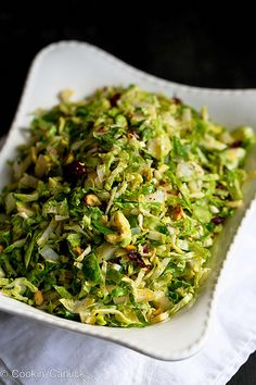 Shredded Brussels Sprouts Recipe with Pistachios, Cranberries & Parmesan | cookincanuck.com #Thanksgiving by CookinCanuck, via Flickr
