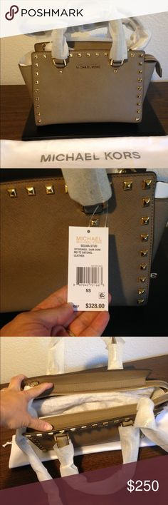 MK Selma medium studded in dark dune color. Just selling. New and very lovely! Medium Selma in dark dune color. MICHAEL Michael Kors Bags Crossbody Bags