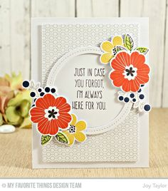 Bold Blooms Stamp Set and Die-namics, Lined Up Dots Background, Whimsical Greetings Stamp Set, Single Stitch Line Circle Frames Die-namics - Joy Taylor  #mftstamps