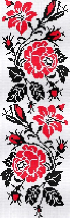 Hand Embroidery Patterns by HandiWorks: Flowers and florals are popular embroidery motifs and are available in a range of styles from classic to contemporary. Cross Stitch Borders, Cross Stitch Flowers, Cross Stitch Charts, Cross Stitching, Cross Stitch Patterns, Folk Embroidery, Cross Stitch Embroidery, Embroidery Patterns, Knitting Charts