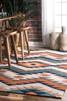 Rugs USA Multi Pampa Pyramid Maze rug - Southwestern Rectangle x Diy Home Decor On A Budget, Decorating On A Budget, Cheap Home Decor, Interior Decorating, Cool Diy, Shabby Chic Vintage, Decoration Ikea, Labyrinth, Affordable Rugs