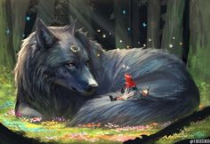 Fantasy Digital Paintings Imagine a World With Giant Animals In It kunst tiere Illustrator Imagines a World Where Gentle Giant Animals Live Among Humans Dark Fantasy Art, Fantasy Artwork, Arte Final Fantasy, Fantasy Wolf, Beautiful Fantasy Art, Fantasy Kunst, Fantasy Wizard, Digital Art Fantasy, Fantasy Paintings
