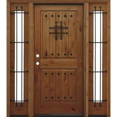 Pacific Entries Mediterranean Rustic 2-Panel V-Groove Stained Knotty Alder Wood Entry Door with 12 in. Sidelites-A42R412 - The Home Depot