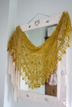The gorgeous crochet shawl made by Josefina Knits.  So delicate. ~ I just dislike the color