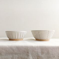 Hand Carved White Ceramic Dip Bowls.  Work by Lisa Patusky approximately 1.5 in tall by 3.5 in. wide   Handmade in Philadelphia