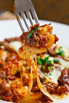 Gnocchi Poutine with Short Rib Ragu and Gremolatta with Stringy Melted Cheese