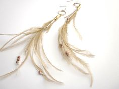 Accessories : Feather Earrings Wheat Color with Gold Vermeil Beads. #District9 #Grain