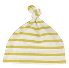 Yellow knotted baby bonnet organic cotton by Pigeon. Made in England.