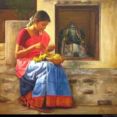8 Enticing Clever Tips: Interior Painting Palette Grey interior painting drawing.Interior Painting Ideas Apartment interior painting tips articles. Indian Women Painting, Indian Artist, Indian Paintings, Oil Paintings, Indian Artwork, Bathroom Paintings, Paintings Famous, Portrait Paintings, Acrylic Paintings