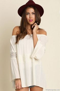 Boho Lace Detail Bell Sleeve Elastic Off the Shoulder Peasant Top-Off White