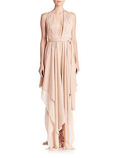 Alice Olivia Lyndon Belted Stretch Silk Halter Dress