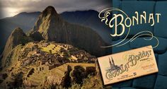 Image de Machu Picchu, en haute montagne, au Pérou.  Droite, sur fond bleu-vert, la signature Bonnat et une tablette de chocolat Bonnat 75% de cacao, grand Cru d'exception Apotequil.