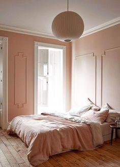 Extraordinary pink bedroom interior design just on miral iva home design Pale Pink Bedrooms, Pink Bedroom Walls, Bedroom Paint Colors, Pink Walls, Pink Room, Linen Bedroom, Blush Bedroom, Linen Duvet, White Bedroom