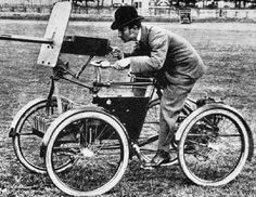 • It had an engine of 1.5 horsepower, four wheels, bicycle saddle, and a gun. This Armored ATV protects only a torso and a head of the driver.  1899 •