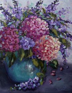 """Daily Paintworks - """"Hot Night Hydrangeas"""" by Bobbie Koelsch"""
