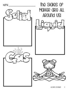 States Of Matter Solids Liquids And Gases Sketch Coloring