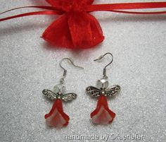 Pretty valentine fairy Earrings on silver plated wires with red organza gift bag