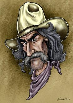 Cartoon Faces, Funny Faces, Cartoon Art, Funny Caricatures, Celebrity Caricatures, Sam Elliott, Caricature Drawing, Cowboy Art, Funny Art