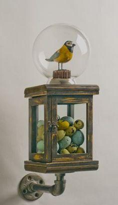 my marbles-----cool mixed media conceptual art sculpture Mixed Media Sculpture, Sculpture Art, Sculptures, Found Object Art, Found Art, Mc Escher, Art Antique, Bird Crafts, Assemblage Art
