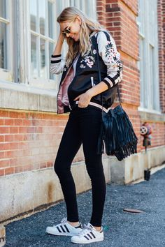 Skinny Black Jeans x Adidas. A Cute Spring Outfit. #springfashion #fashion #style