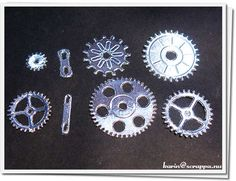 Gears made from cardboard covered with aluminum tape