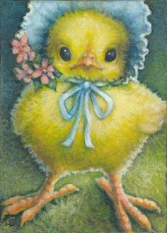 "Art by Lynn Bonnette: ""Spring Chicken in a Blue Bonnet"""