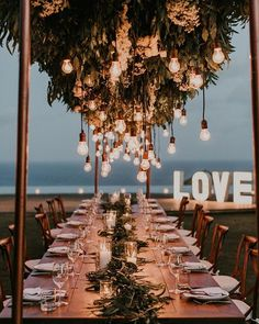 Make a Room of Lights. We love a summer wedding dinner outdoors. That said, feel free to dress up the destination by adding string lights up above each dining table. Tuscany Wedding Venue, Bali Wedding, Wedding Table, Summer Wedding, Wedding Ceremony, Wedding Venues, Dream Wedding, Wedding Parties, Wedding Greenery
