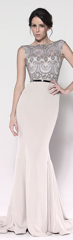 Paolo Sebastian gown.  Elegant cream sheath