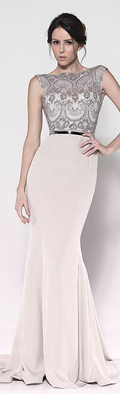 Paolo Sebastian gown.  Elegant cream sheath