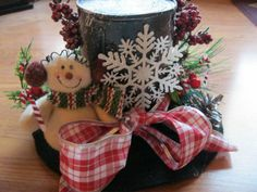 HANDMADE SNOWMAN HAT CHRISTMAS DECOR-TABLE DECOR (BLACK &RED WITH HOLLY BERRY Holiday Hats, Christmas Tree Toppers, Diy Christmas Gifts, Christmas Snowman, Christmas Wreaths, Christmas Ornaments, Winter Centerpieces, Centrepieces, Snowman Hat