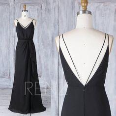 Bridesmaid Dress Black V Neck Spaghetti Strap Chiffon Wedding