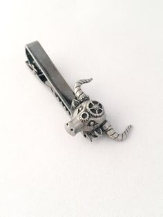 Steampunk Mens Accessories Bull Tie Clip  by ArcanumByAerrowae