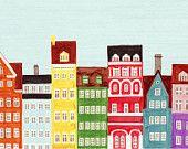 Combined Colorful European Buildings Skyline Mega Illustration Fine Art Poster Print: Scandinavian, Copenhagen, Amsterdam, Venice, Stockholm. $64.00, via Etsy.