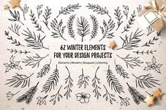 Merry Christmas. Winter elements by Kate Macate on @creativemarket