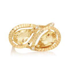 Anel em ouro amarelo 18k, 1,2 pts de diamantes e 2 citrinos - Coleção Ritmo