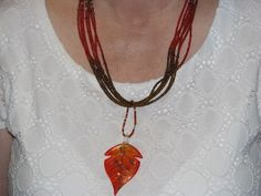 Fall Leaf Seed Bead Neckalce and Earrings by CreativeDesignsbyLin, $28.99